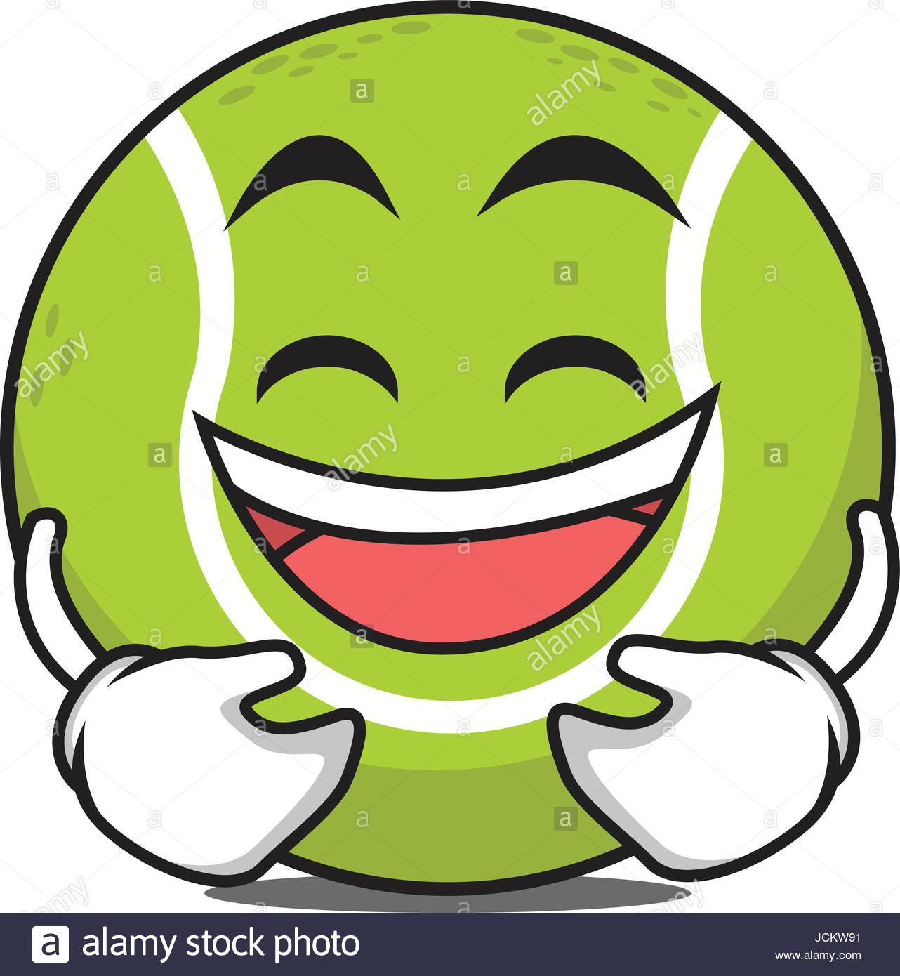 1282x1390 Laughing Tennis Ball Cartoon Character Vector Illustration Stock
