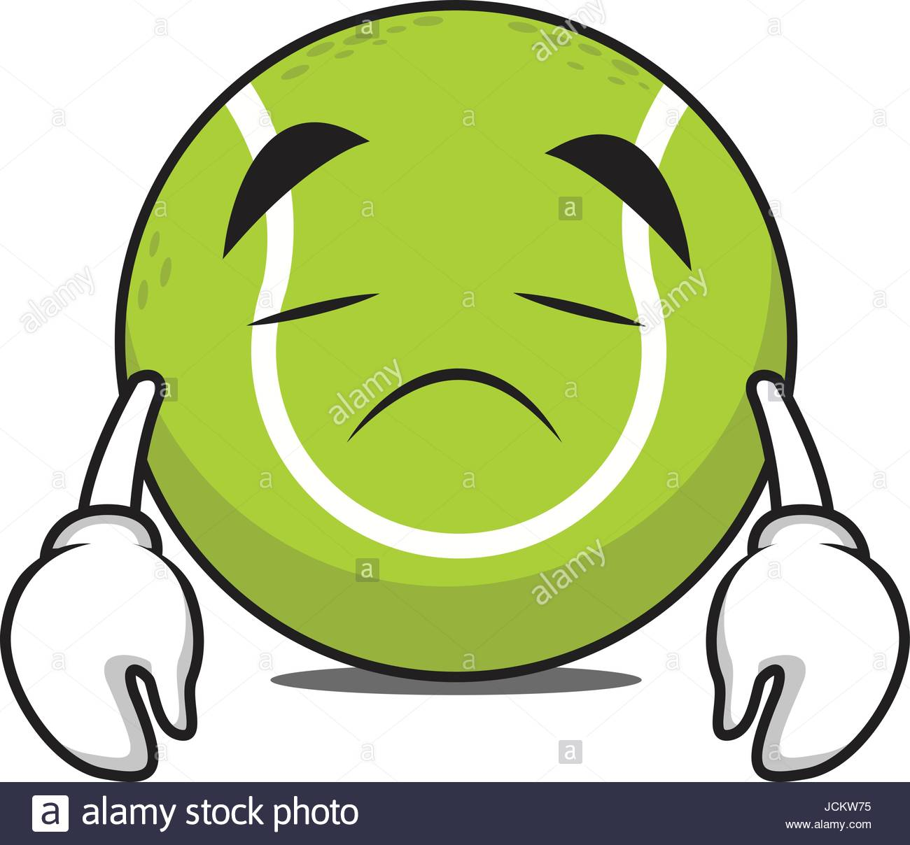 1300x1208 Sad Tennis Ball Character Cartoon Vector Illustration Stock Vector