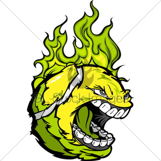 325x325 Tennis Ball Screaming Face With Flames Vector Image Gl Stock Images