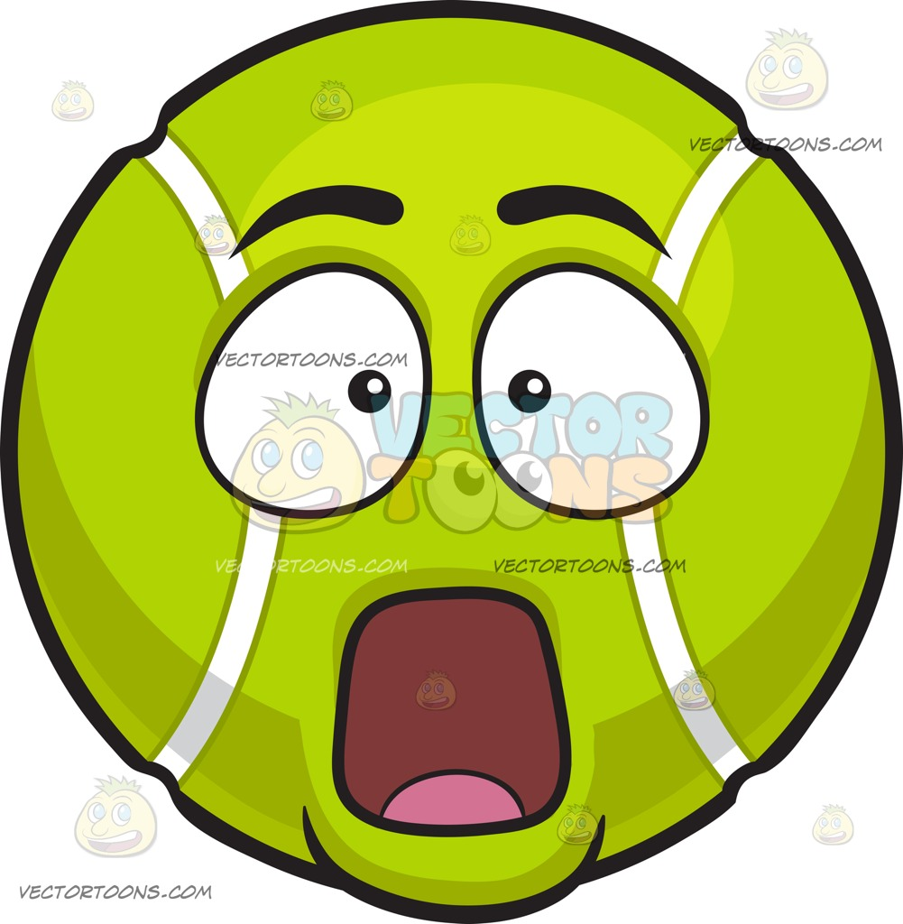 1001x1024 A Stunned Tennis Ball Cartoon Clipart