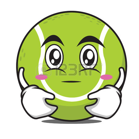 450x450 Thinking Tennis Ball Cartoon Character Vector Illustration Royalty