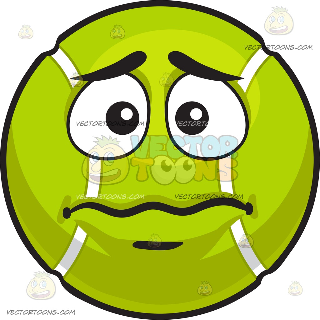 1024x1024 A Worried Tennis Ball Cartoon Clipart