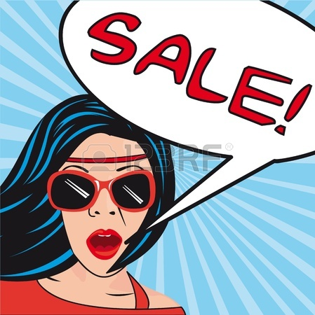 449x450 Pop Art Women With Thought Bubbles Sale.illustration Royalty Free