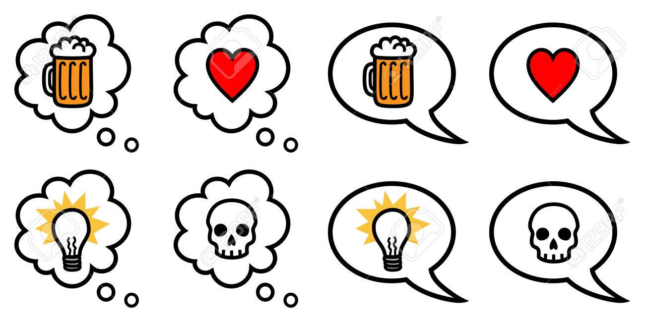 1300x650 Vector Illustration Of Speech And Thought Bubbles With Different