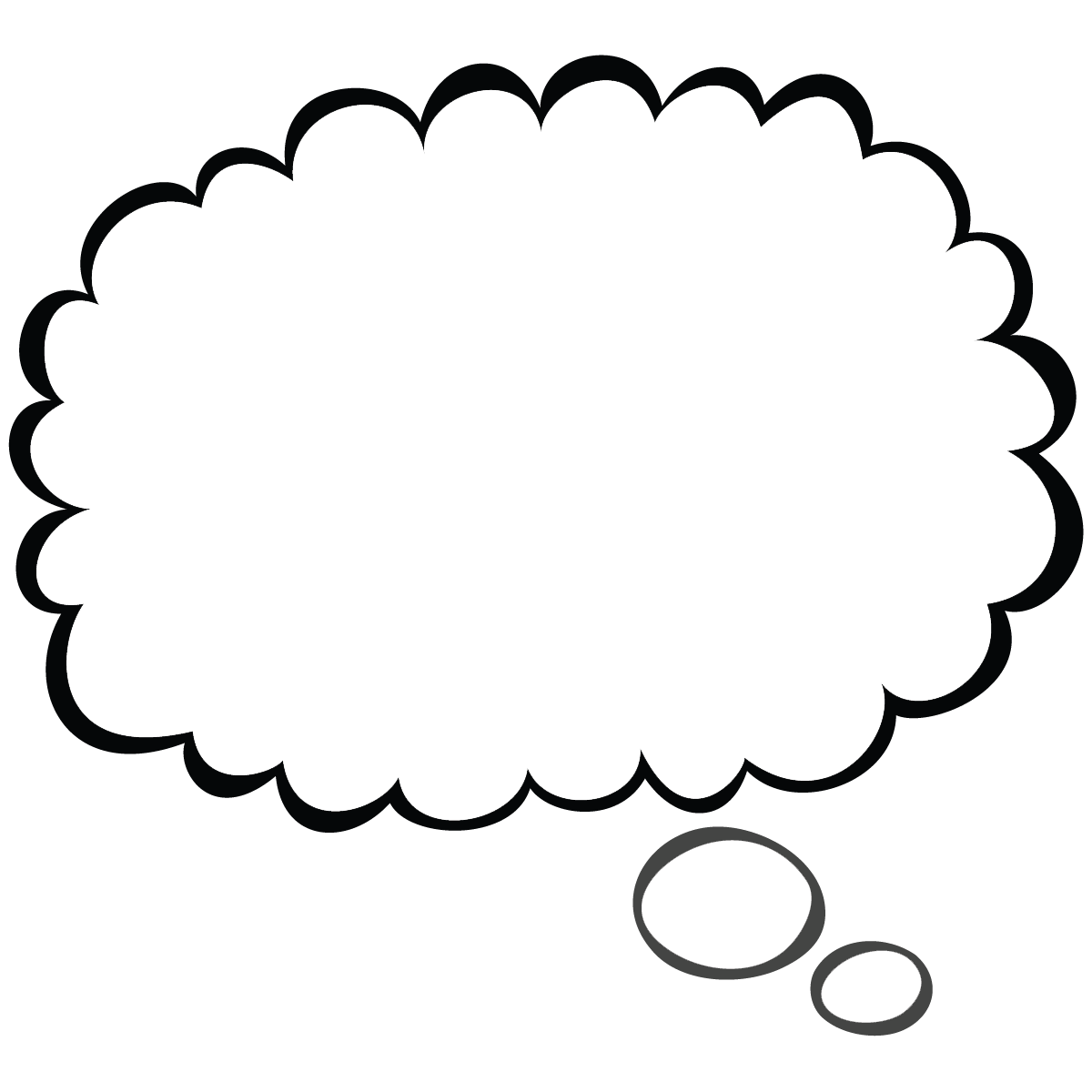 1200x1200 Cartoon Thought Bubble Small Clipart Pixel Size Free Design