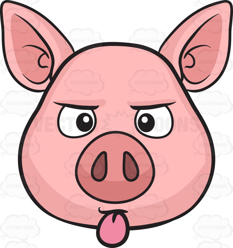 963x1024 A Pig Sticking Out Its Tongue Cartoon Clipart