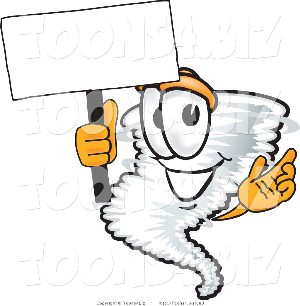1024x1044 Vector Illustration Of A Cartoon Tornado Mascot Waving A Blank