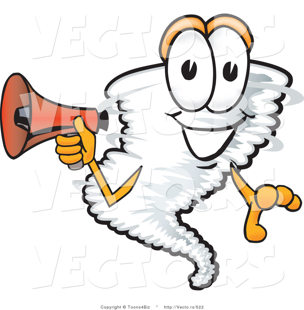 1024x1044 Vector Of A Cartoon Tornado Mascot Holding Megaphone By Toons4biz