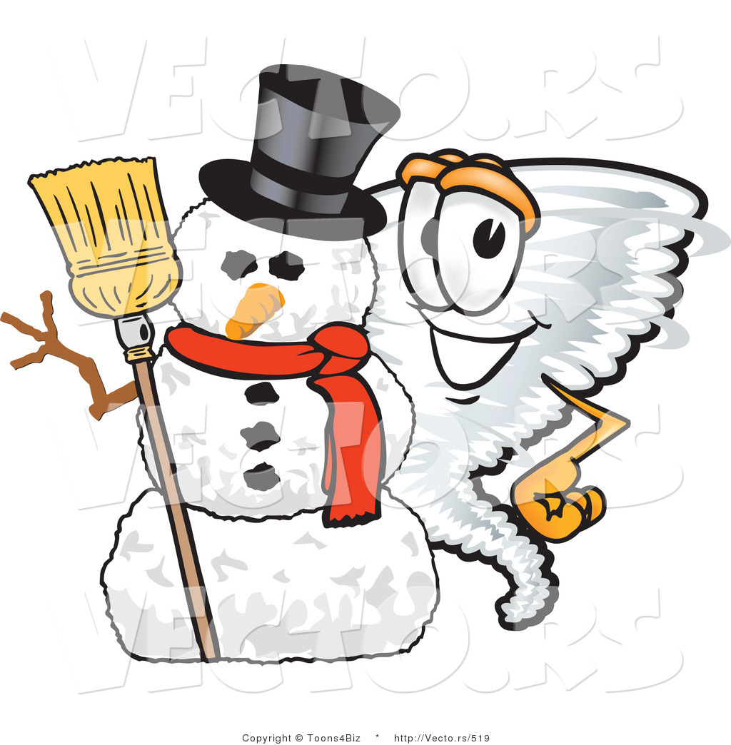 1024x1044 Vector Of A Cartoon Tornado Mascot Beside A Snowman By Toons4biz