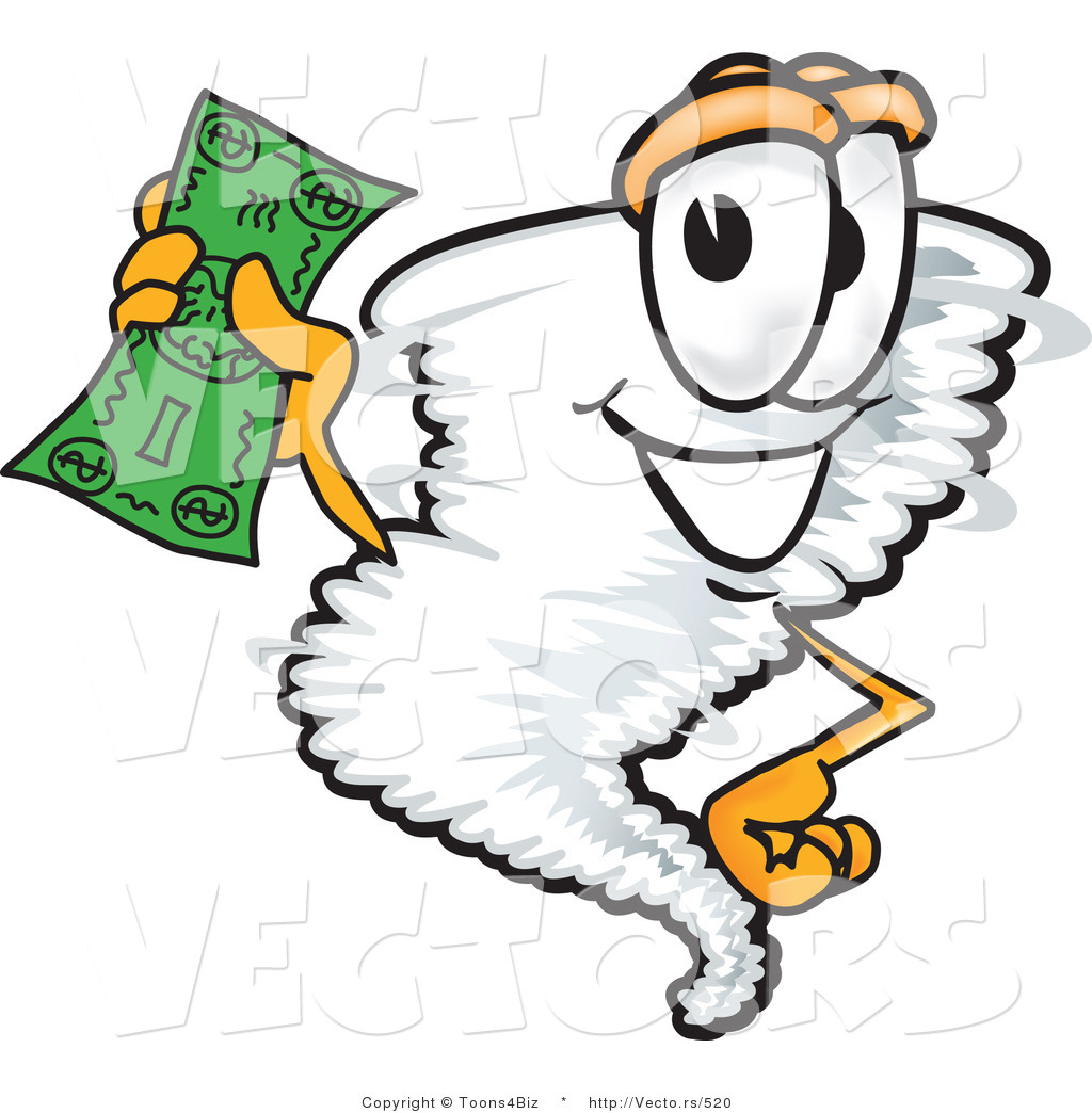 1024x1044 Vector Of A Cartoon Tornado Mascot Holding Money By Toons4biz