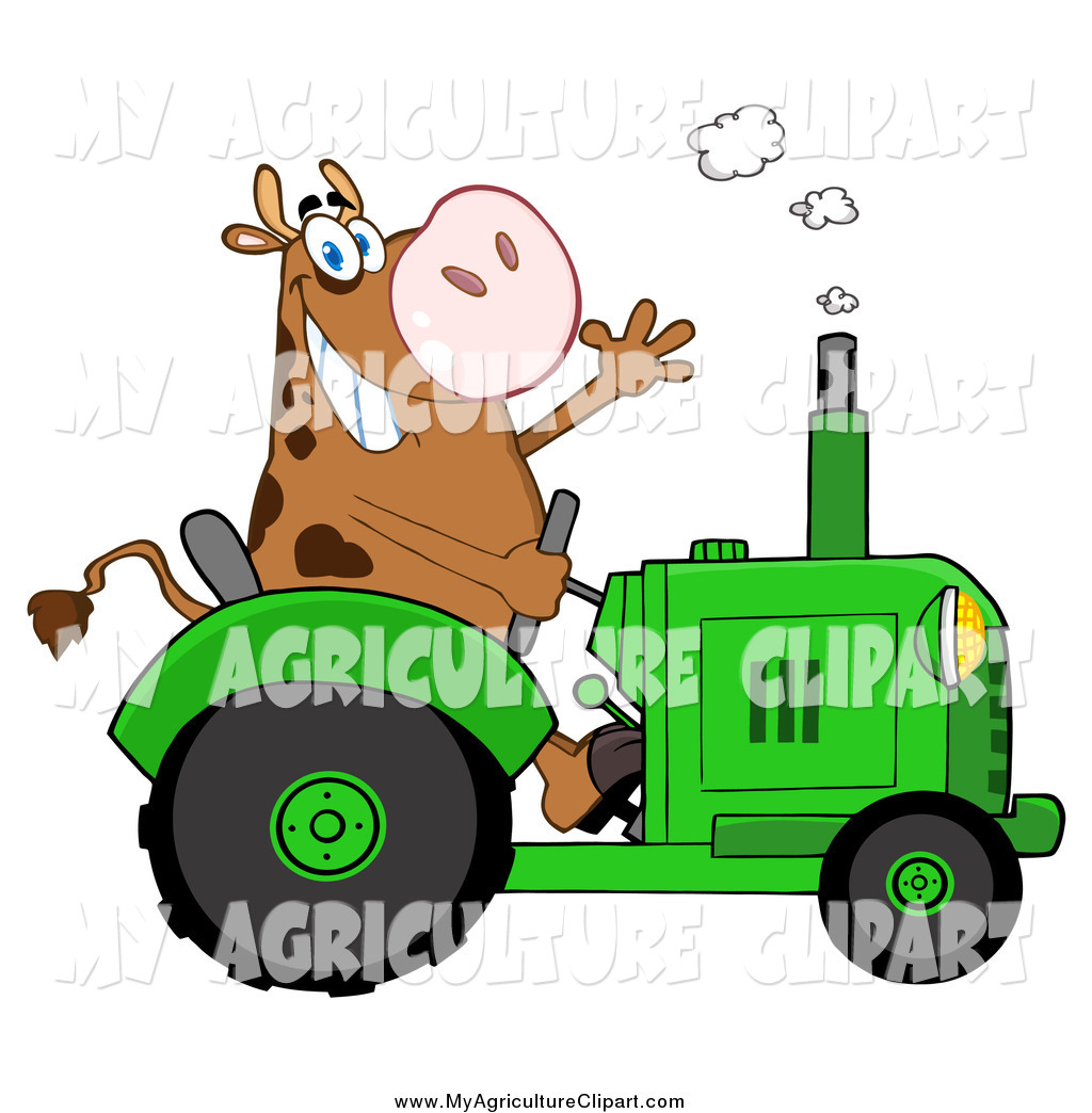 1024x1044 Vector Cartoon Agriculture Clipart Of A Cow Farmer Waving