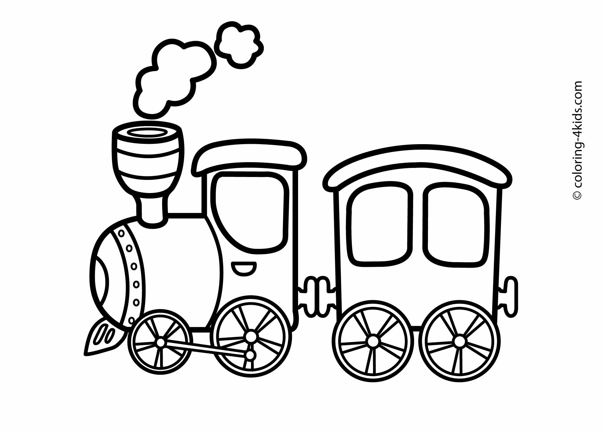 2079x1483 Funny Cartoon Train Coloring Page For Toddlers Transportation