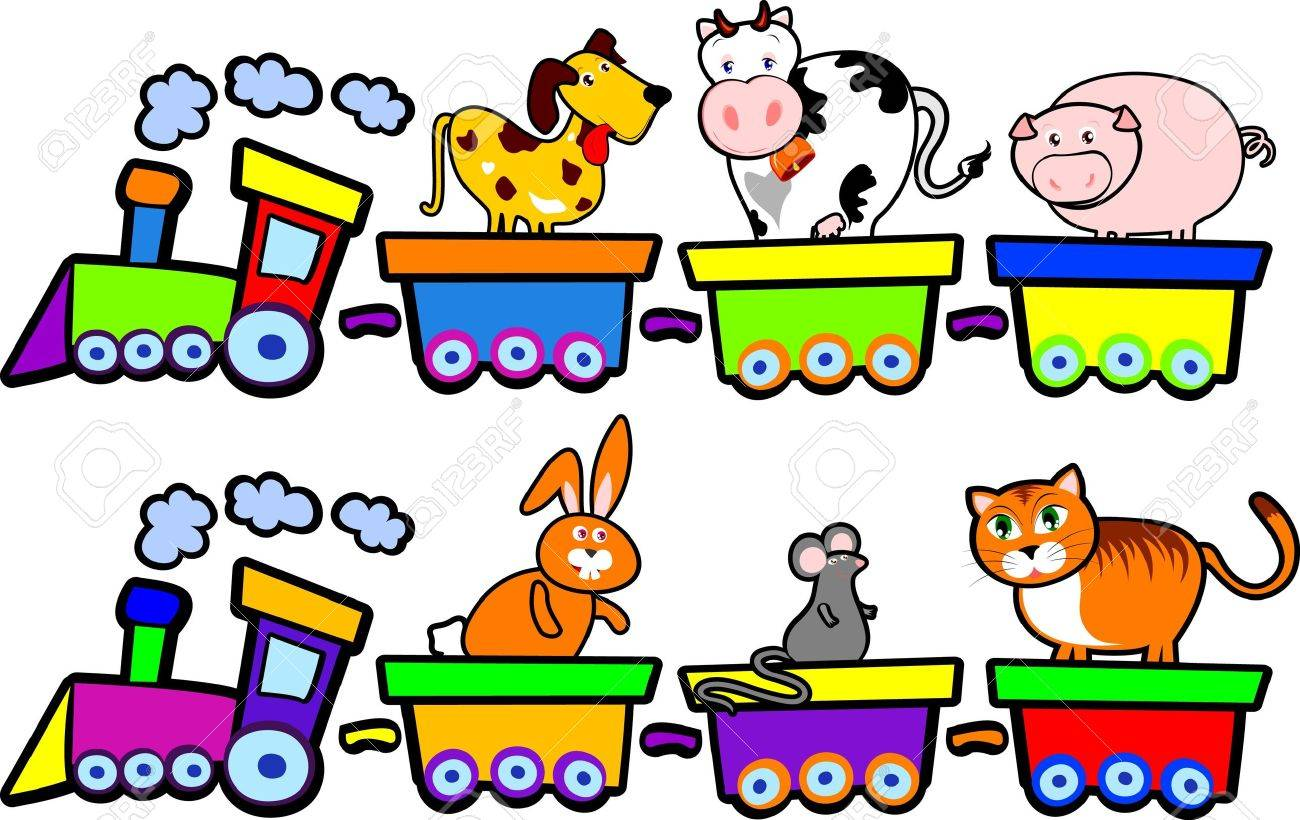 1300x820 Funny Trains With Farm Animals, Vector Royalty Free Cliparts