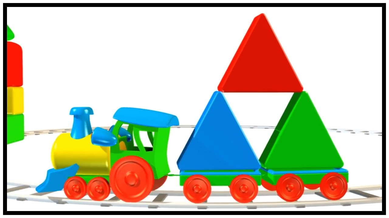 1280x720 TRIANGLE TRAINS! Learn 2d amp 3d Shapes INTERACTIVE Video Cartoon