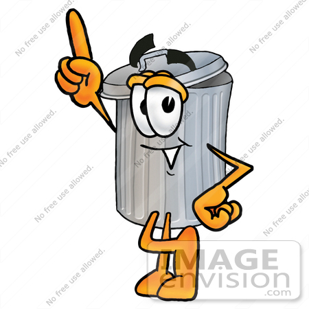 450x450 Clip Art Graphic Of A Metal Trash Can Cartoon Character Pointing