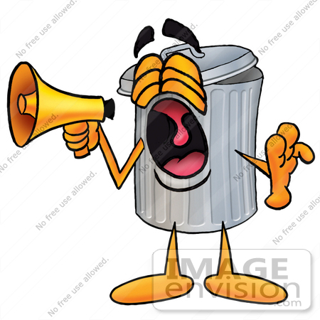 450x450 Clip Art Graphic Of A Metal Trash Can Cartoon Character Screaming