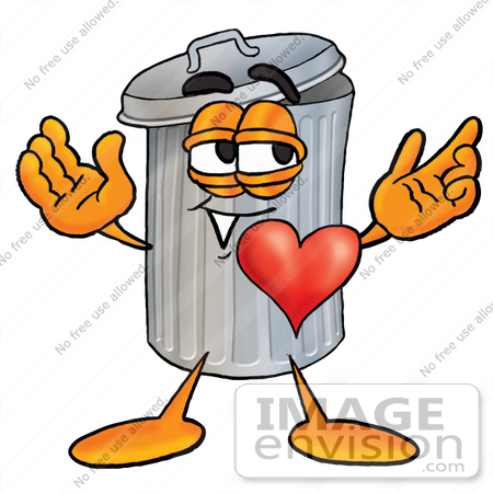 450x450 Clip Art Graphic Of A Metal Trash Can Cartoon Character With His
