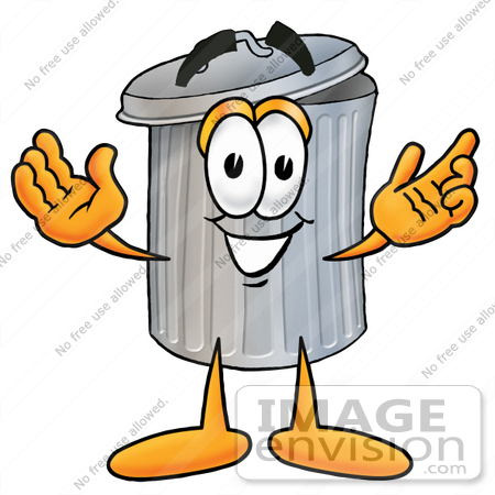 450x450 Clip Art Graphic Of A Metal Trash Can Cartoon Character With Open