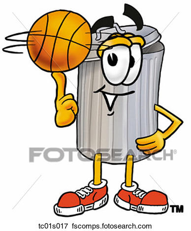 388x470 Clip Art Of Trash Can Playing Trash Can Tc01s017