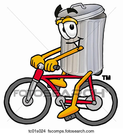 432x470 Clipart Of Trash Can Riding Bike Tc01s024
