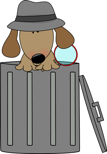 349x500 Dog Looking For Clues In A Trash Can Clip Art