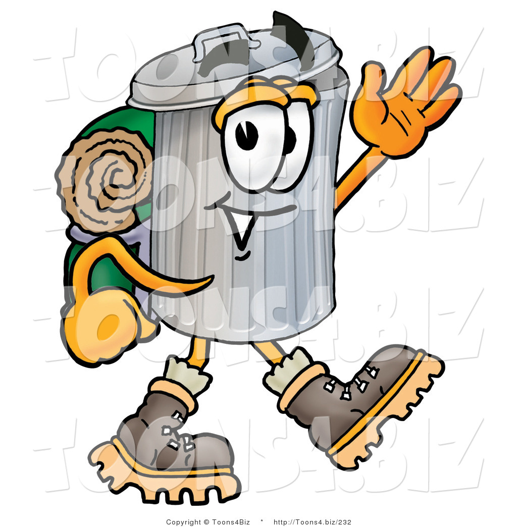 1024x1044 Illustration Of Cartoon Trash Can Mascot Hikingnd Carrying