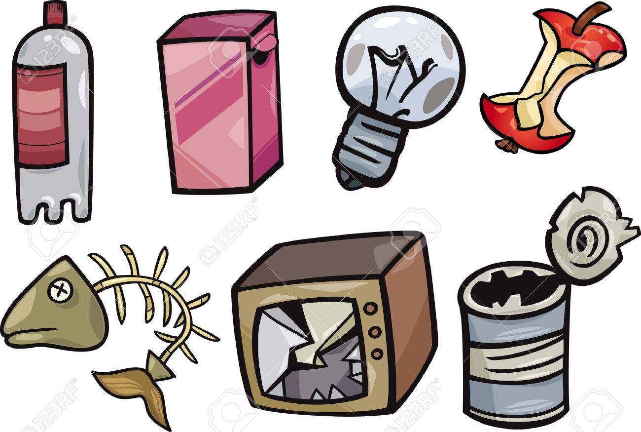1300x875 Cartoon Illustration Of Garbage Or Junk Objects Clip Art Set