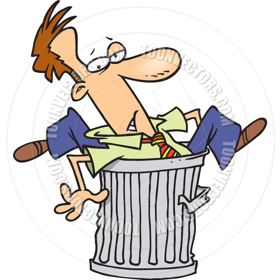 940x940 Cartoon Man In Garbage Can By Ron Leishman Toon Vectors Eps