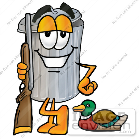 450x450 Clip Art Graphic Of A Metal Trash Can Cartoon Character Duck