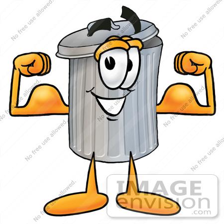 450x450 Clip Art Graphic Of A Metal Trash Can Cartoon Character Flexing