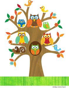 236x300 Owl Cartoon Colorful Owls In Pretty Tree Clip Art