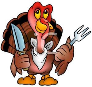 300x285 Art Image A Cartoon Turkey With A Knife And Fork