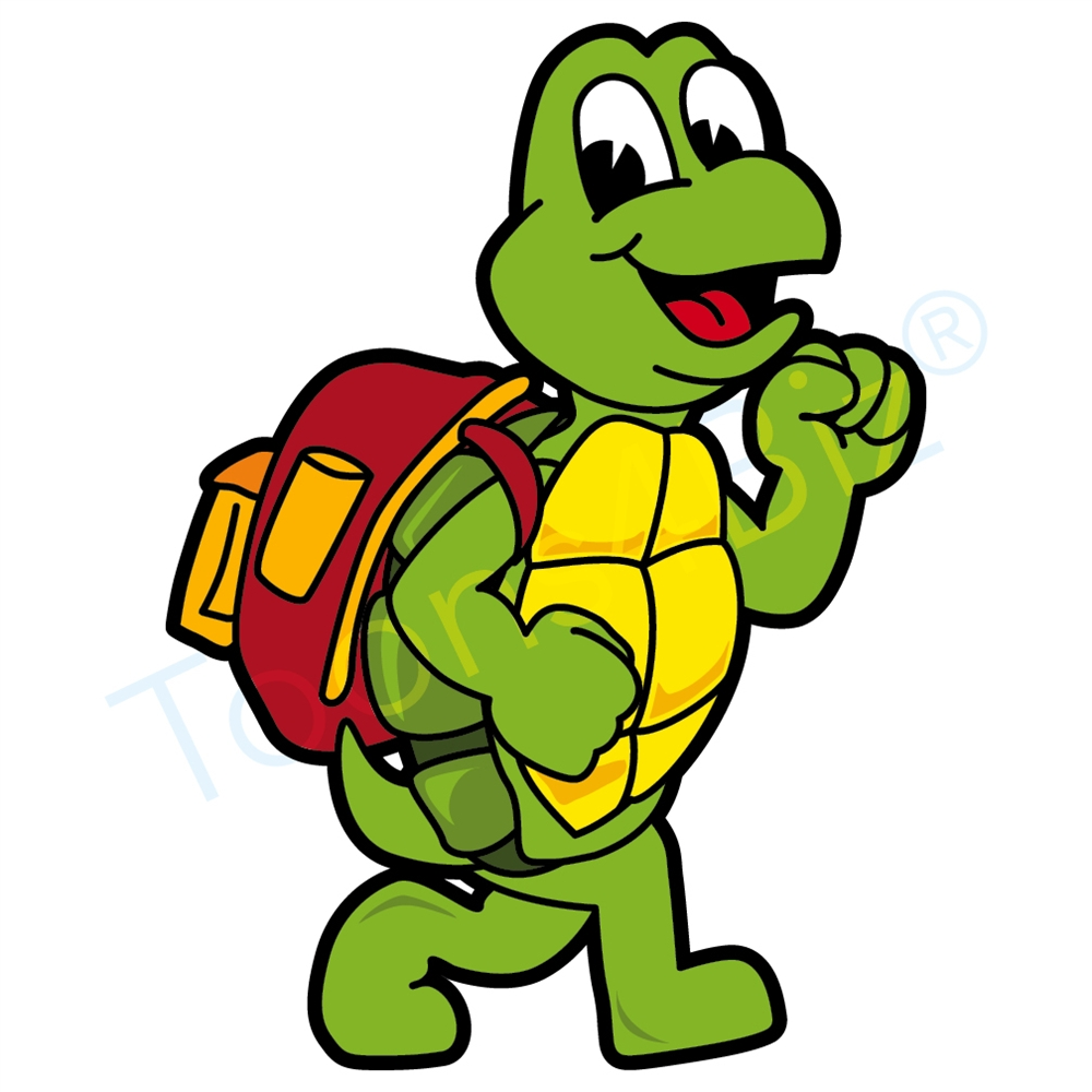 1000x1000 Turtle Mascot Walking With Back Pack Clip Art
