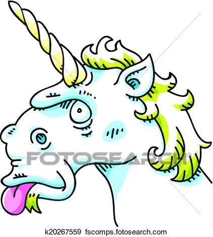 423x470 Clip Art Of Silly Unicorn K20267559