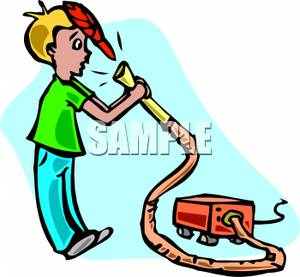 300x277 Boy Sucking His Hat Into A Vacuum Cleaner By Accident Clip Art Image