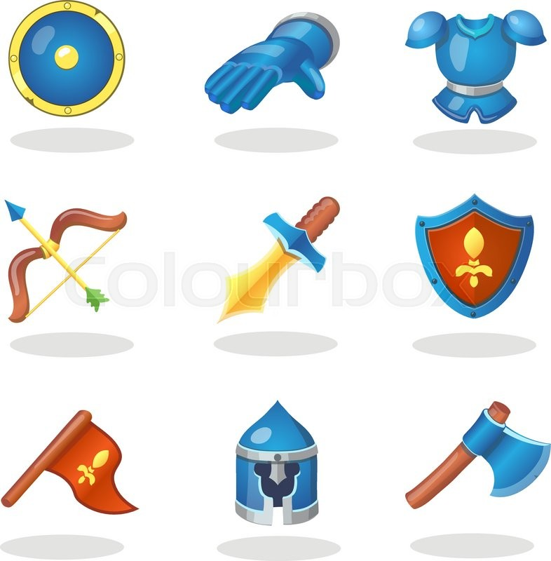 786x800 Knight Weapon Cartoon Icons Set. Medieval Weapons, Shields, Armor