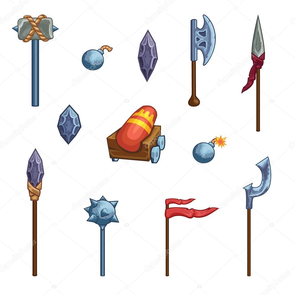 1024x1024 Medieval Cartoon Weapons. Game Icons. Stock Vector