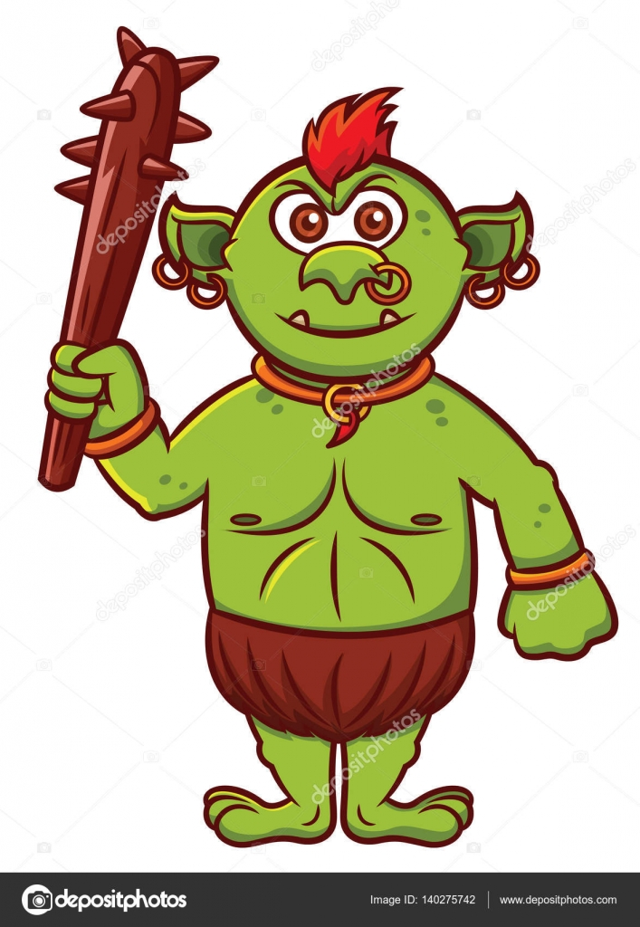 707x1024 Troll With Club Weapon Cartoon Character Isolated On White Stock