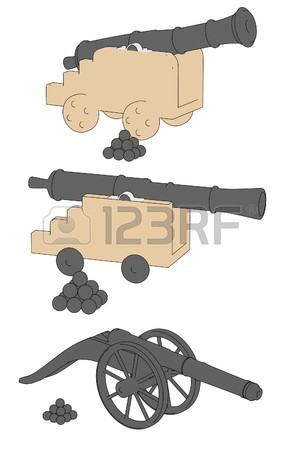 300x450 Cartoon Image Of Cannon Weapons Stock Photo, Picture And Royalty