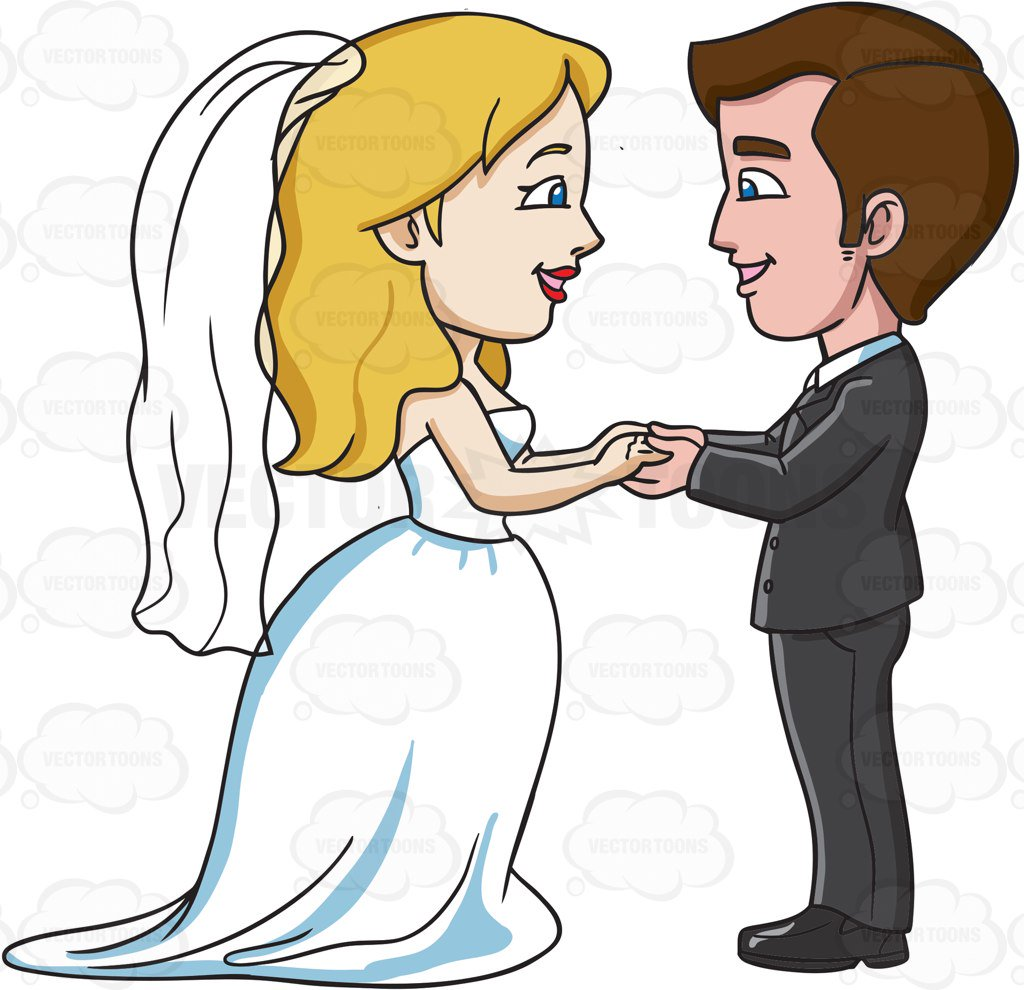 1024x990 A Couple Saying Their Marriage Vows Cartoon Clipart