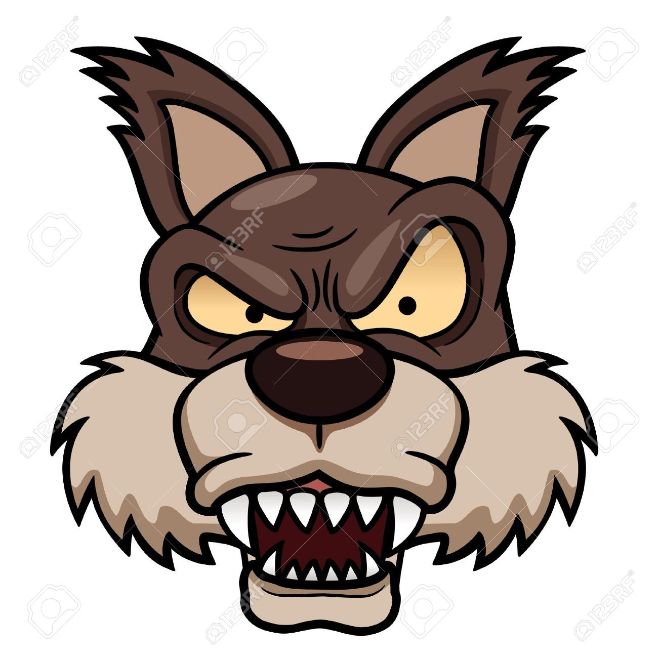 1300x1300 Illustration Of Cartoon Wolf Face Royalty Free Cliparts, Vectors