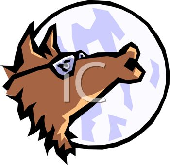 350x340 Picture Of A Cartoon Wolf Wearing Sunglasses Howling At The Moon