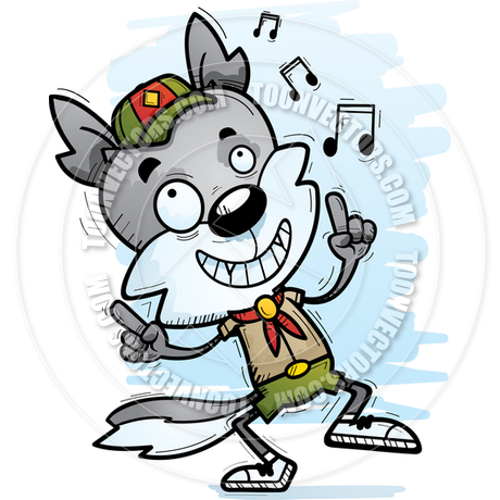 460x460 Cartoon Male Wolf Scout Dancing By Cory Thoman Toon Vectors Eps