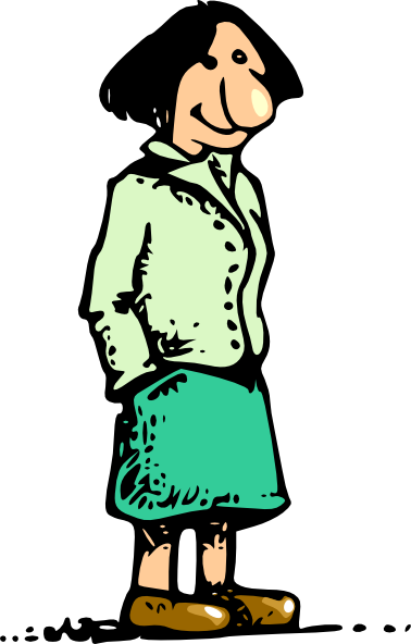 378x592 Woman Standing Smiling Cartoon Clip Art