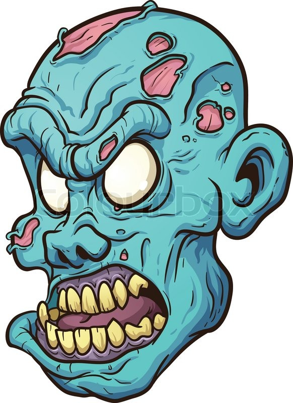 582x800 Cartoon Zombie Head. Vector Clip Art Illustration With Simple