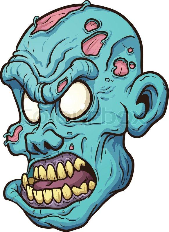 582x800 Cartoon Zombie Head. Vector Clip Art Illustration With Simple