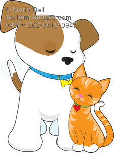224x300 Puppy And Cat Pet Clip Art Illustration