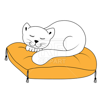 400x400 Cat Sleeping On Pillow Royalty Free Vector Clip Art Image