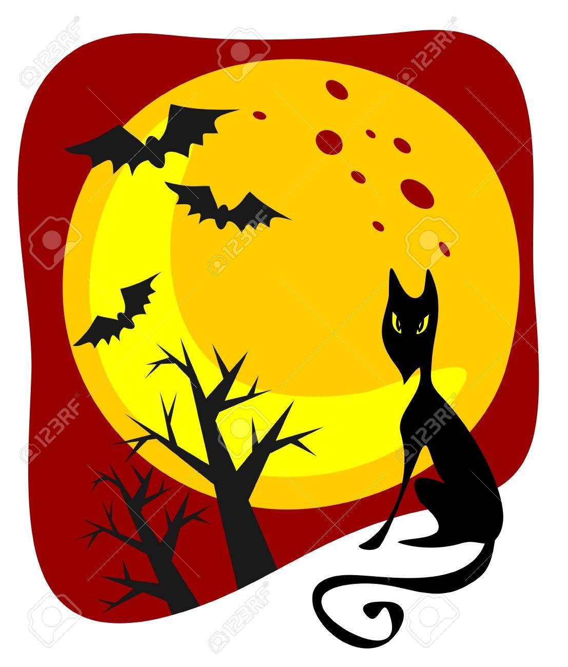 1107x1300 Cartoon Black Cat And Moon. Halloween Illustration. Royalty Free