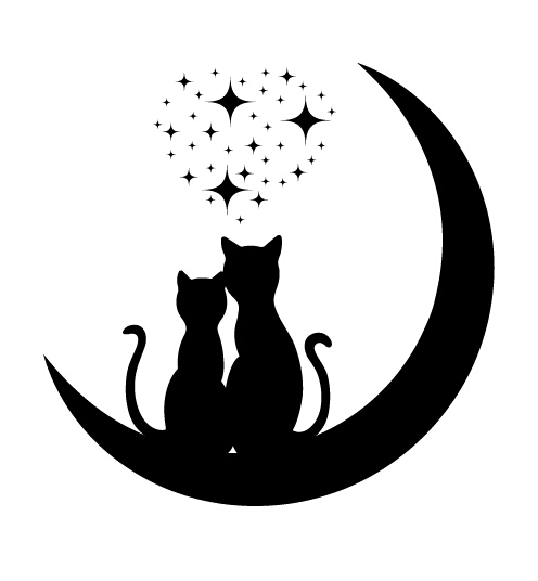 496x536 Cats Love With Moon Vector 03